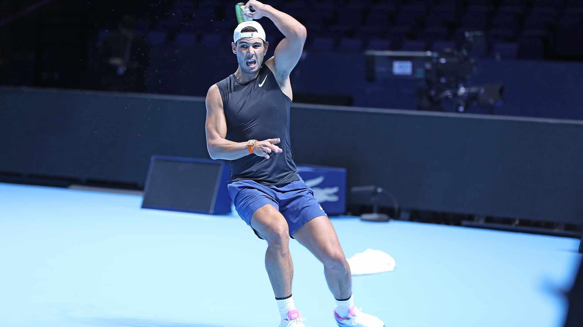 Rafael Nadal practising Thursday at The O2.